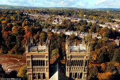 Majestic: The western towers of Durham Cathedral rise high above the city of Durham which is adorned by vast swathes of woodland showing the...