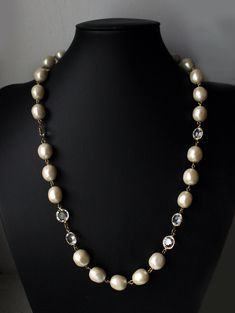 e34e54424 1980s Givenchy necklace Swarovski Crystal large Baroque Faux Pearl French  Couture