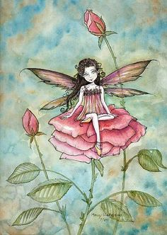 Fairy Art: Abigail Rose by Artist Molly Harrison Unicorn And Fairies, Elves And Fairies, Fairy Paintings, Fairy Drawings, Cute Kawaii Drawings, Fairy Pictures, Watercolor Artwork, Dragon Art, Fairy Art