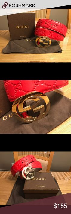 Red Guccissima Gucci Belt 100% Authentic All available sizes, US belt sizes from 28-44 Tags, boxes and dust bags included Make a bundle for a better deal.  Reasonable offers welcomed, no low ball offers! Gucci Accessories Belts