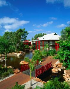 The cheerful red structures of the Cable Beach Club Resort - Broome, Western Australia