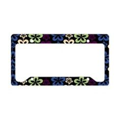 Trendy Girly Floral Pattern License Plate Holder on CafePress.com