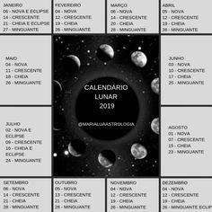 Resultado de imagem para calendario lunar 2019 Natural, White Magic, Astrology, Woman Warrior, Witch, Learning, Spirituality, Polka Dot, Calendar