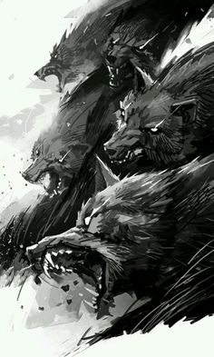 savage wolf pack art illustration, black and white, solta os cachorros ! savage wolf pack art illustration, black and white, solta os cachorros ! Fantasy Creatures, Mythical Creatures, Amazing Art, Awesome, Fantasy Art, Dark Fantasy, Art Drawings, Concept Art, Cool Art