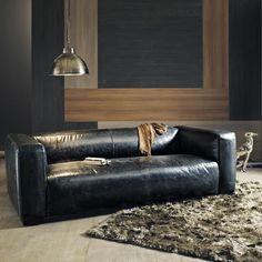 Divano Flores, divano in pelle vintage, cuscini in tessuto. | Décor ...