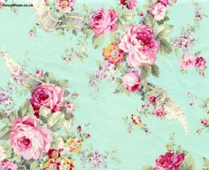 Rococo & Sweet Duck Egg Fine Cotton Fabric, Lecien