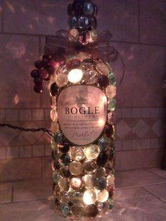 Bogle decorated and lit wine bottle