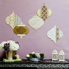 Trellis Pattern Wall Art Wood Shapes for DIY painted wall decor. Get creative decorating with these recycled wood shapes. Great for painting, stenciling, and de Ramadan Diy, Ramadan Crafts, 2018 Ramadan, Festa Tema Arabian Nights, Fest Des Fastenbrechens, Decoraciones Ramadan, Do It Yourself Decoration, Eid Crafts, Moroccan Stencil