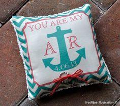 Ring Bearer Pillow - Anchor Pillow - You Are My Anchor - Nautical Theme Wedding - Ocean Beach Theme - Customize to your Wedding