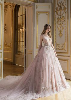 PSAW1812 - Layered tulle ball gown with three-dimensional floral and vine embroidery