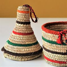 Other – African basket enriched with colored wool yarn – a unique product by Omar-Handmade on DaWanda Wool Yarn, Home And Living, Designer, Straw Bag, Basket, African, Etsy, Unique, Handmade