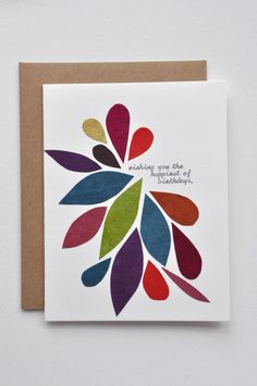 This card is made by hand using colorful Lokta paper from Nepal. Text is written onto each card with my vintage Royal typewriter. $8