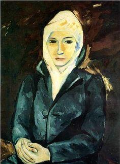 By Natalia Goncharova, 1911, Portrait of a Woman.