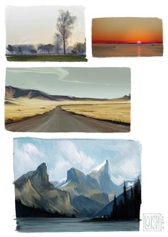 """loish: """" some landscape studies i did a while back, based on personal pics. Landscape Illustration, Landscape Art, Landscape Paintings, Illustration Art, Nature Paintings, Environment Painting, Environment Design, Loish, Cities"""