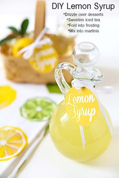 Make your own lemon syrup to use for sweetening iced tea, martinis and drizzling over desserts! Makes great hostess gifts, too!