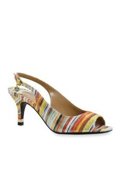 J Rene233 Bright Multi Gardenroad Metallic Striped Slingback Heel