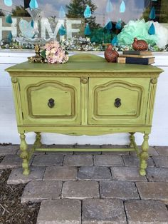 This little bean was in pretty beat up shape when I found it. The previous owners tried to rehab him but gave up! I think the dark wax and distressing tells the story of its past pretty well. Not too bright and not too soft- this is the perfect pop of green color. 40 inches long x 20 deep by 33 high $315 ~Providence Hill