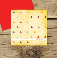 Christmas tree cute patterned card by Lilykiss on Etsy, $4.00