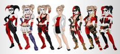 Harley Quinn Evoultion by LadyDeadQuinn.deviantart.com on @deviantART From Left to Right: Batman the animated series original Harley Quinn, Arkham Asylum, Arkham City, Arkham Origins, Injustice, Injustice Insurgency,  The New 52