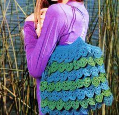 Crochet Knitting Handicraft: bag in blue-green colors crocheted