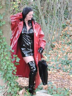 DSCN7185 High Leather Boots, Leather Jacket, Red Raincoat, Rain Jacket, Bomber Jacket, Rubber Doll, Latex Girls, Outdoor Woman, Rain Wear