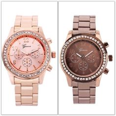 🌟STUNNING🌟 Bling Watch 🆕 Bling watch. Links can be removed for custom sizing.  🌟This listing is for Rose Gold or Coffee.  🌟Available in Silver, Gold, Coffee and Rose Gold tones.  (See other listing for silver or gold tone).                                                                    🌟Brand will be either Geneva as pictured above or Sanwood. Same watch but branded differently.   🌟Please select color from sizing menu.   ❗️Price is firm unless bundled❗️ Geneva Jewelry