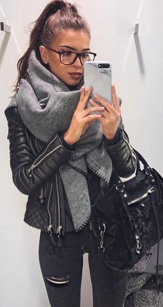 #winter #fashion /  Black Leather Jacker   Grey Scarf