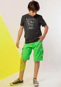 T-Shirt - Signature: Indigo Short - Cargo: Neon Green
