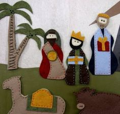 Felt Nativity Scene. Looking for baby proof ways to teach the Christmas story:)