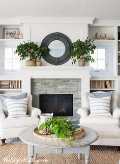Cool Tone Spring Ready Living Room Tour | Elegant living room ...