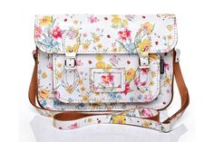 White Leather Satchel with Large Floral Pattern £104