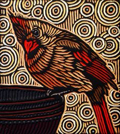 Cardinal - Lisa Brawn This is a beautiful lino-block print or I think its a…