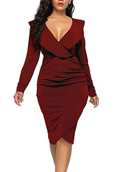 6153c9d2b5519d WIWIQS Women s Sexy V Neck Bodycon Long Sleeve Ruffle Dre... https