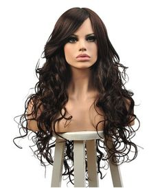 Cool2day Cosplay Long Curly Hair Oblique Bang Full Wig+Free Wig Cap(Model:JF011459)