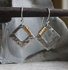 Hammered Silver Earrings with 14K Goldfill Wire Wrap Gift for
