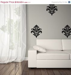 Better than wallpaper! Less expensive and a lot easier to remove! Comes with 5 Damask Decals (add more by add to cart button).  Visual Dimension: Each