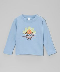 Look at this #zulilyfind! Lollypop Kids Clothing Light Blue Turkey Personalized Tee - Infant, Toddler & Kids by Lollypop Kids Clothing #zulilyfinds