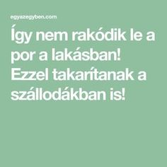 Így nem rakódik le a por a lakásban! Ezzel takarítanak a szállodákban is! Cleaning Solutions, Cleaning Hacks, Home Management, Natural Cleaning Products, Home Hacks, Home Organization, Clean House, Good To Know, Health Tips