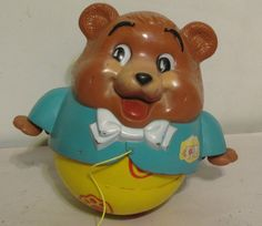 Vintage 1960's? Fisher Price Chubby Cub The Roll Along Bear Musical Pull Toy  #FisherPrice