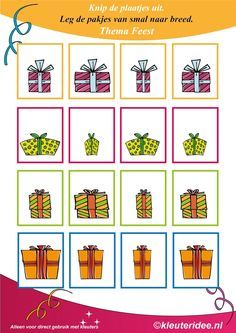Leg de pakjes van smal naar breed, thema feest voor kleuters, kleuteridee.nl , Put the gifts from narrow to wide, free printable.