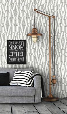 Inspiring Modern Wall Texture Design for Home Interior Geometric Furniture, Modern Interior Decor, Geometric Decor, Grey Wallpaper Vintage, Room Wallpaper, Beautiful Interiors, Wallpaper Living Room, Wall Texture Design, Floor Lamp