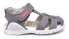 Biomecanics sandalia cerrada en piel gris ,ajuste con velcro.