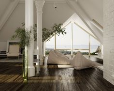 Dark hard wood floors. vaulted ceiling
