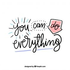 Lettering concept with motivational quotes Free Vector Calligraphy Quotes Doodles, Brush Lettering Quotes, Doodle Quotes, Hand Lettering Quotes, Positive Quotes, Motivational Quotes, Inspirational Quotes, Cute Quotes, Words Quotes