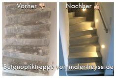 #Betonoptik #Treppe - Diese Treppe haben wir in Handarbeit zu einem Hingucker gespachtelt.   http://www.maler-heyse.de/leistungen/moderne-oberflaechen/betonoptik.html