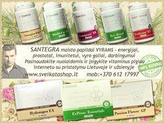 Santegra maisto papildai sanariams, kaulams, dantims, dantenoms, raumenims, nagams, plaukams, raiščių ir kremzlių funkcijai.