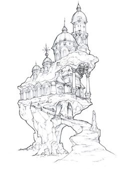 how to draw faces Gothic Drawings, Dark Drawings, Fantasy Drawings, Fantasy Kunst, Fantasy Artwork, Castle Sketch, Castle Drawing, Art And Illustration, Environment Sketch