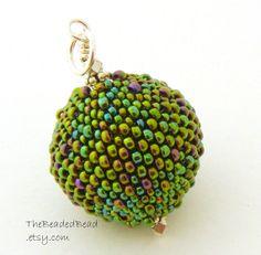 Beaded Ball Pendant  large round peacock mardis by TheBeadedBead, $25.00