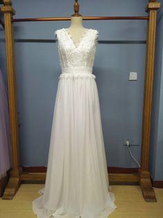 V Neck Floor Length Designer Wedding Dress Spring and Summer Bridal Dress