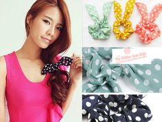 Japan Korean Style Rabbit Ear Bow Hair Tie Bracelet | eBay